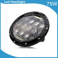 Free shipping 7 Round LED Headlight H4 plug DRL HIGH LOW Beam Black Chrome 75W LED Headlight for SUV Motorcycle Trucks Offroad