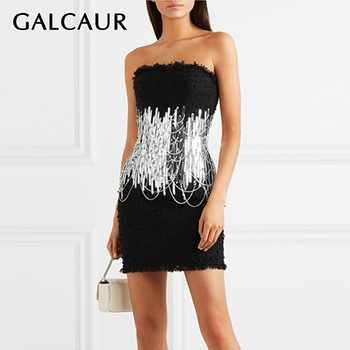 GALCAUR Sexy Strapless Dress For Women Sleeveless High Waist Sequined Patchwork Mini Dresses Female Fashion Summer 2020 New - DISCOUNT ITEM  39 OFF Women\'s Clothing