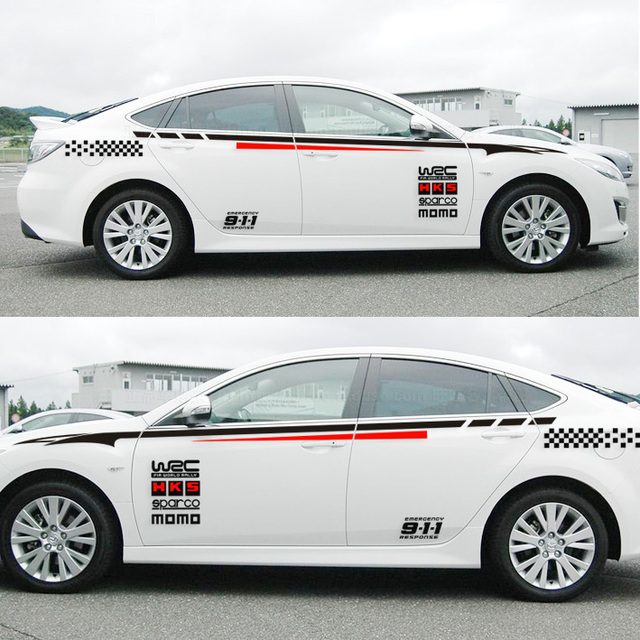 Racing stripe wrc car sticker decal two sides case for mg6 k2 k5