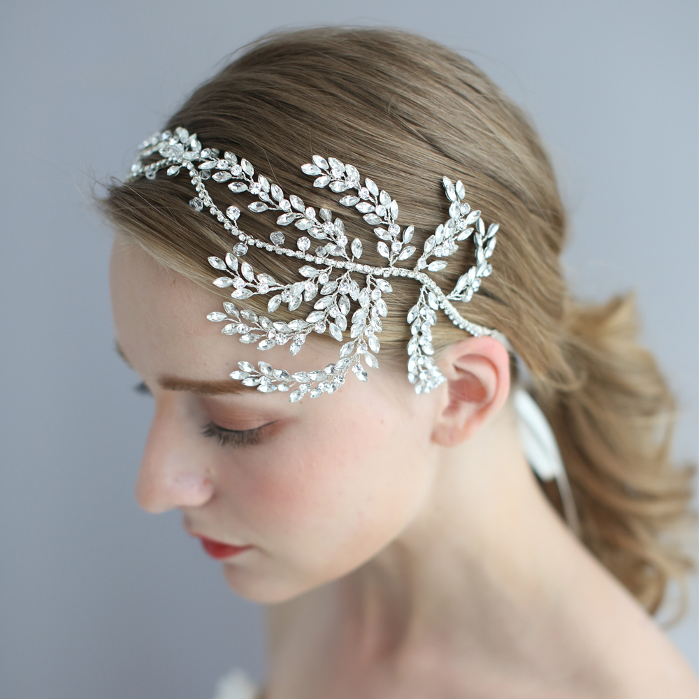 Vintage Crystal Bridal Hair Vine Headband Antique Silver Luxury Wedding Headpiece Crown Fashion Women Hair Accessories