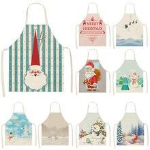 1pcs Christmas Apron Santa Claus Snowman Pinafore Cotton Linen Aprons Adult Bibs 53*65cm for Home Kitchen Cooking Baking MX0005
