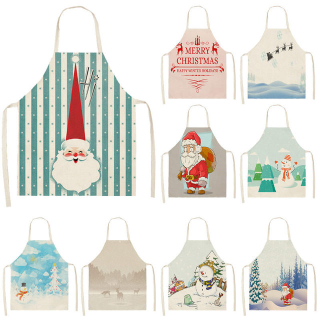 1pcs Christmas Apron Santa Claus Snowman Pinafore Cotton Linen Aprons Adult Bibs 53*65cm for Home Kitchen Cooking Baking MX0005