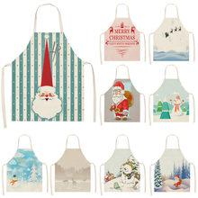 Delantal navideño de lino y algodón para adultos, delantales dorsales para adultos, 53x65cm, para el hogar, cocina, hornear, MX0005, 1 Uds.