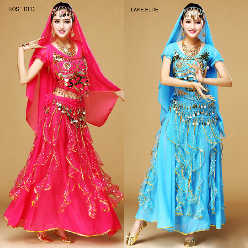 1 Pcs Belly Dance Skirt Sets Color Point Stage Performance Clothing Indian Dance Costume Adult Female's Short Sleeve Practice