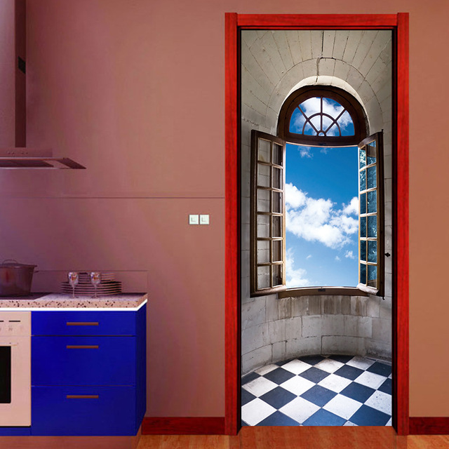 creative diy 3d door stickers castle windowsill pattern for room wall decoration home decor accessories large