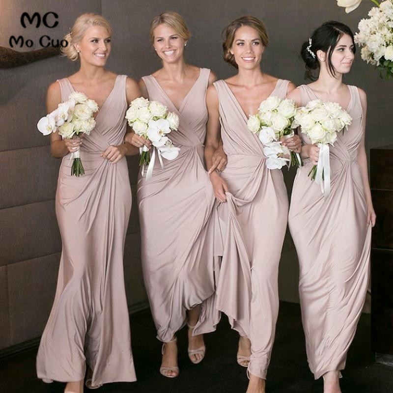 2019 Cheap In Stock   Bridesmaid     Dresses   Long Chiffon V-Neck Formal Wedding Party   Dress   Floor Length Women   Bridesmaid     Dress