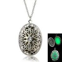 Glowing Jewelry Gift Oval Pendant Luminous Glow In The Dark Locket Necklace Jewelry Gift