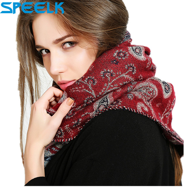 2019 Ethnic Style Cashmere Shawl Scarf Women Jacquard Thick Warm Shawls And  Wraps Winter Neck Collar Bib scarves Dropshipping