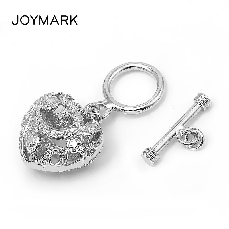 JOYMARK 2pcs lot Fine Jewelry Accessories 925 Sterling Silver Hollow Heart Charm OT Toggle Clasps For