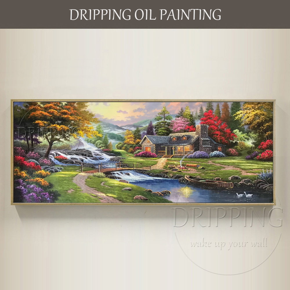 Skilled Artist Hand-painted High Quality Thomas Landscape Oil Painting on Canvas Beautiful Rich Colors Country Oil Painting image