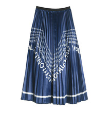2019 New Spring Summer Woman Letter Printed Mid-calf Long Pleated Skirt European Style Elastic High Waist Vintage