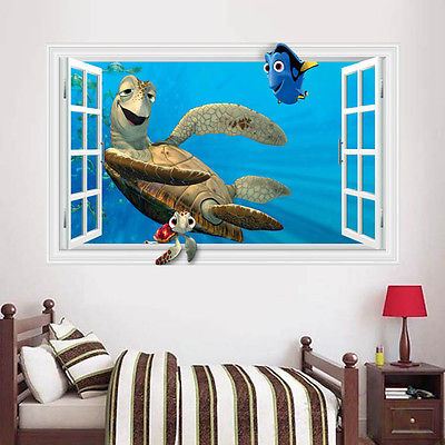 Removable 3d Kids Bedroom Wall Decals Turtle Under Sea World Animal