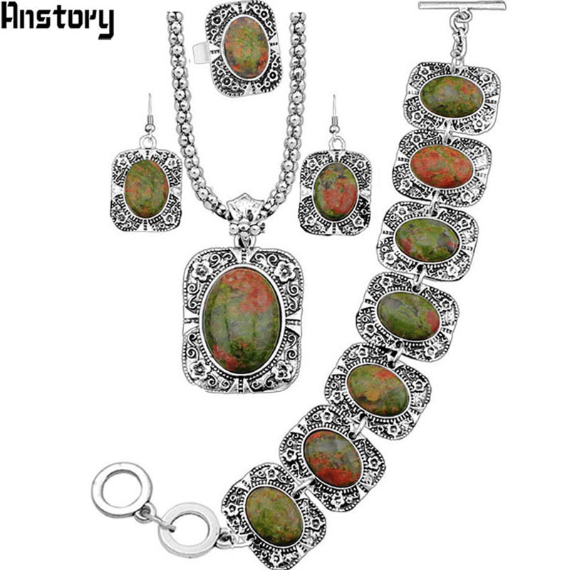 4 Pcs Vintage Look Antique Silver Plated Necklace Bracelet Earring Oval Flower Stone Jewelry Sets TS90 все цены