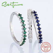 Silver Rings For Women Multi-color Stones Blue Green White CZ Diamond Women Ring Pure 925 Sterling Silver Party Fashion Jewelry