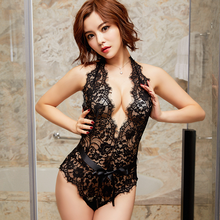 2018 New Sexy Lingerie Neck Revealed Hips Eyelash Onesies Lace Onesies Girls Sexy Onesies Manufacturers Sales Fun coveralls GXS1