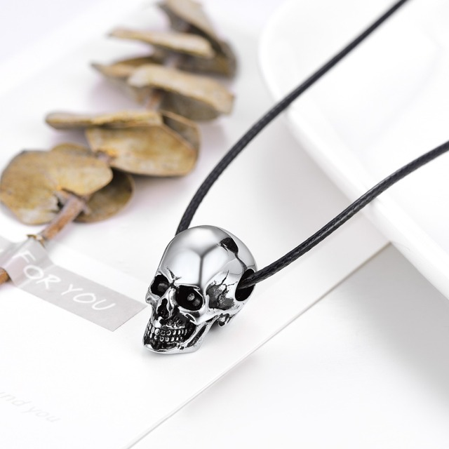 Skull Necklace with Black Leather Cord