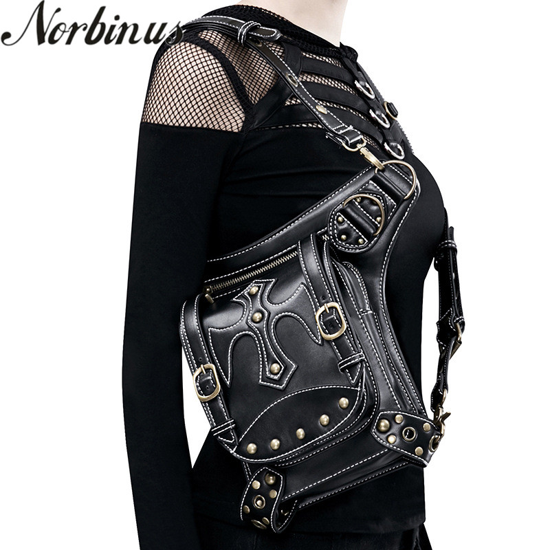 Norbinus Steampunk Women Waist Bags PU Leather Rivet Men Motorcycle Bag Female Crossbody Shoulder Holster Bag Thigh leg Packs femalee 2018 latest style women s shoulder bags 100% genuine sheepskin leather rivet crossbody bag fashion casual waist packs