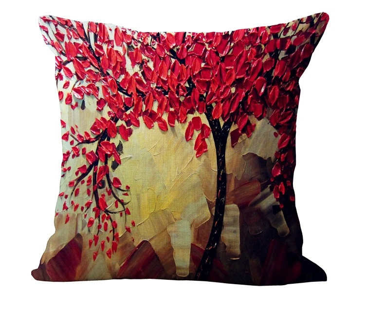 oil painting 3D effect pillow cover