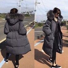Fashion luxury thick white duck down warm Down jacket woman hooded raccoon fur large fur collar waist loose Korean's Winter Coat стоимость