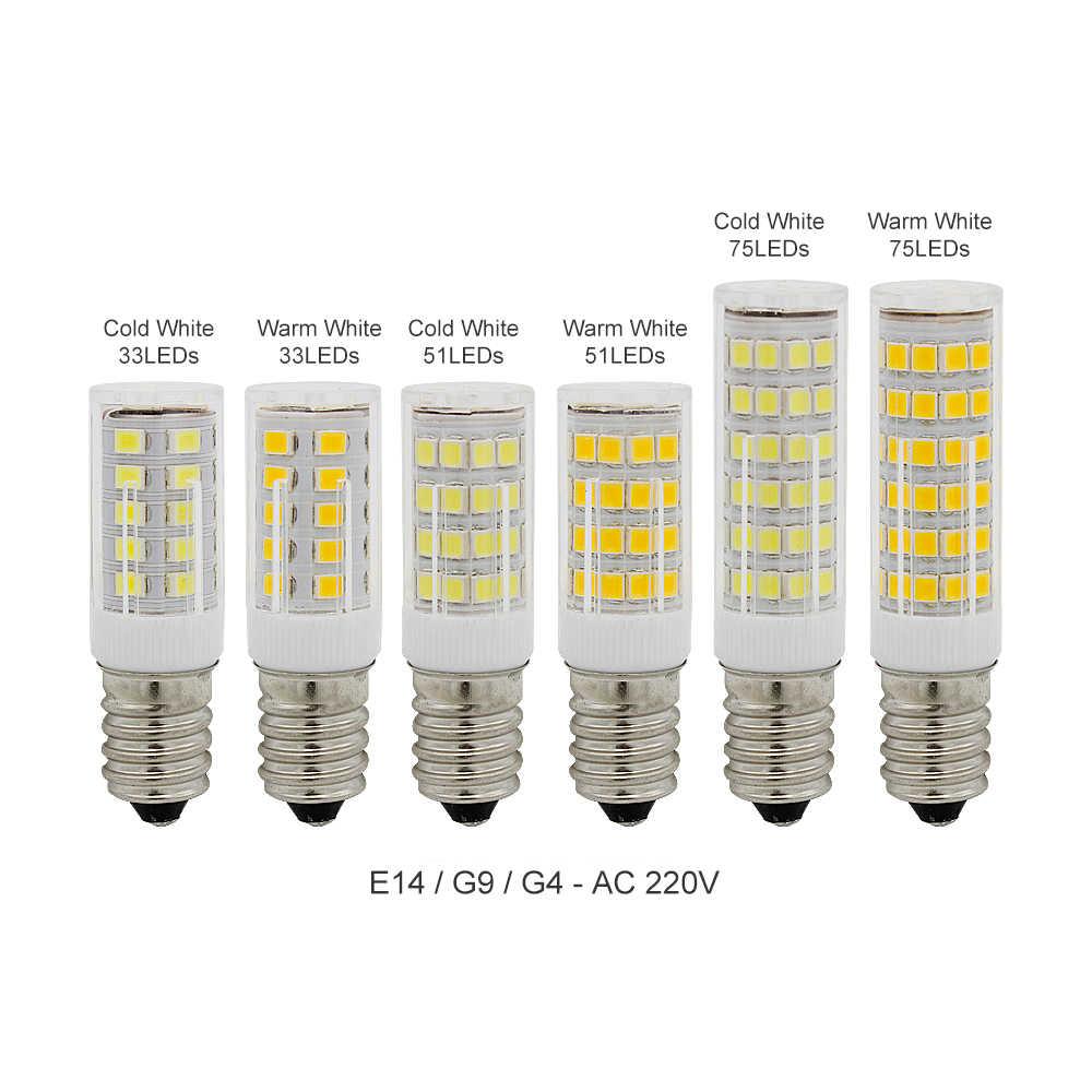 1 個 E14 G4 G9 LED SMD 2835 無ちらつき AC 220V 33 Led 51 Led 75 Led ランプセラミッククリスタル LED 電球スポットライトシャンデリア
