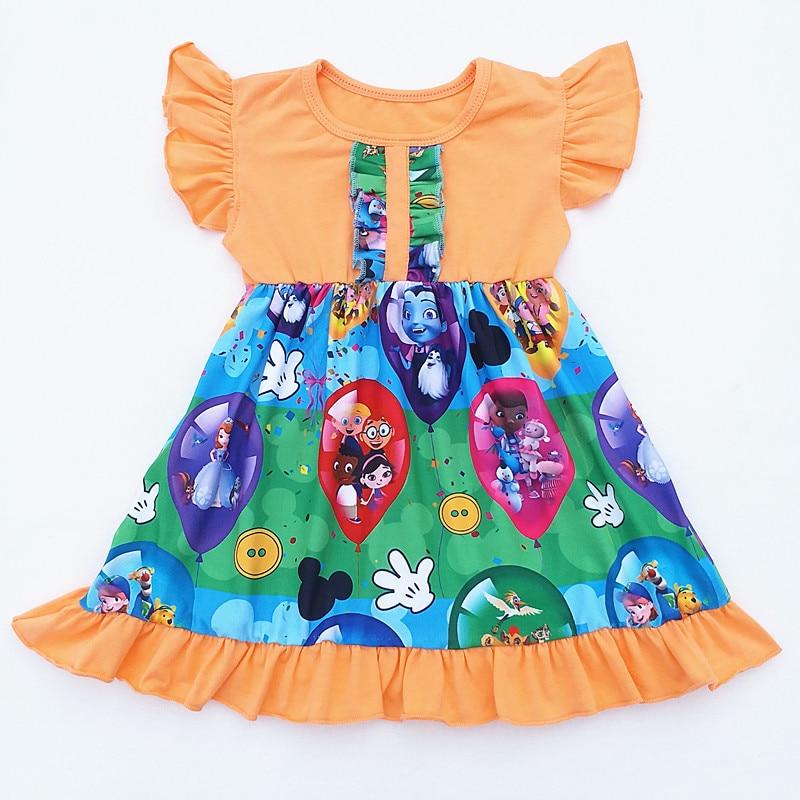 New Milk Silk Carton Girls Children Clothes Baby Short Sleeve Ruffle Dress Boutique Kids Wear Baby