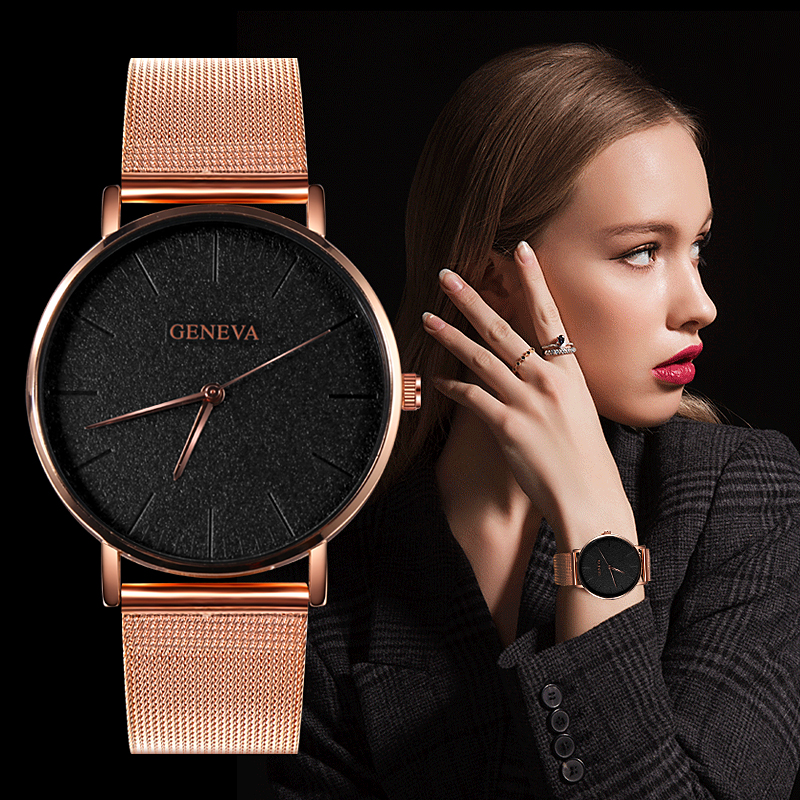 Reloj Mujer Geneva Top Brand Women Watches Luxury Slim Rose Gold Wristwatch Fashion Steel Mesh Strap Ladies Watch Relogio Femino