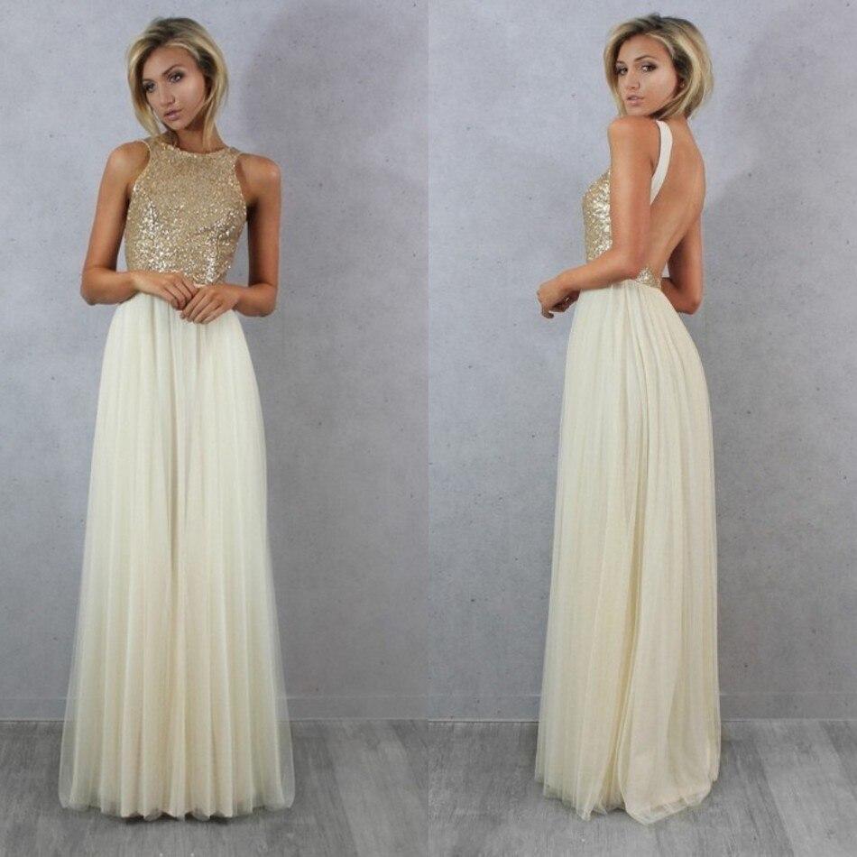 Champagne Glitter Bridesmaid Dresses