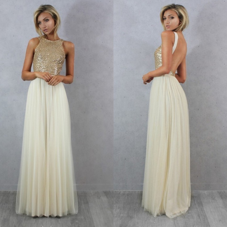 Popular gold top dress bridesmaid buy cheap gold top dress sexy tulle top champagne gold sequin bridesmaid dresses cheap formal party dresses 2016 long wedding party ombrellifo Images