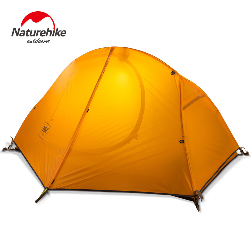 Naturehike NH18A095-D 4 Season Ultralight 1 Person Double Layers Aluminum Rod Hiking Tent 20D Silicone Fabric With Camping Mat naturehike 3 person camping tent 20d 210t fabric waterproof double layer one bedroom 3 season aluminum rod outdoor camp tent
