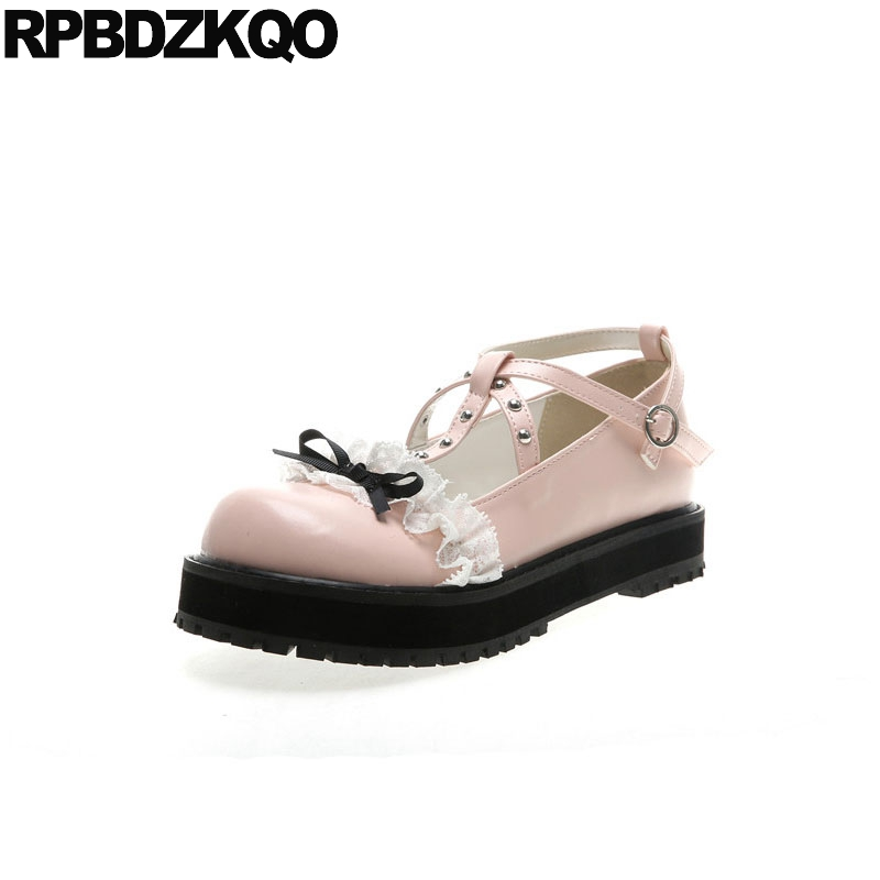 cc87f13dfa stud women cute kawaii ladies creepers 2018 round toe designer shoes china  thick sole pink platform bow lolita muffin rivet