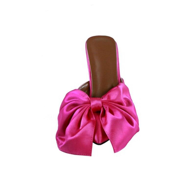 Knsvvli bout pointu rose aiguille rouge femmes pantoufles noir satin bowknot à pois mode élégantes femmes mules talons été-in Pantoufles from Chaussures    2