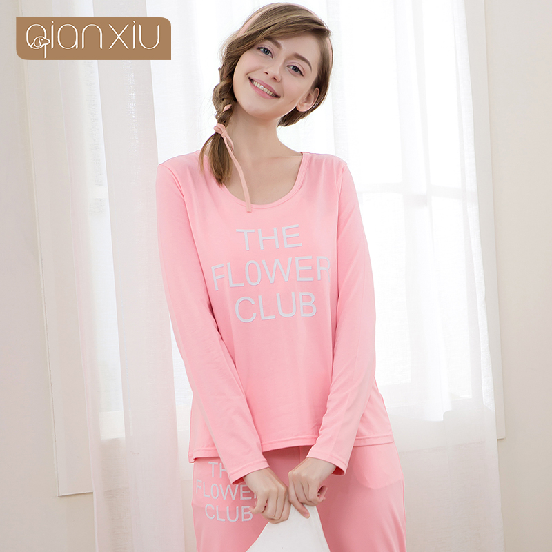 QIANXIU autumn new cute girl round neck long-sleeved pajamas design modal fabric comfortable and simple to wear outside clothes