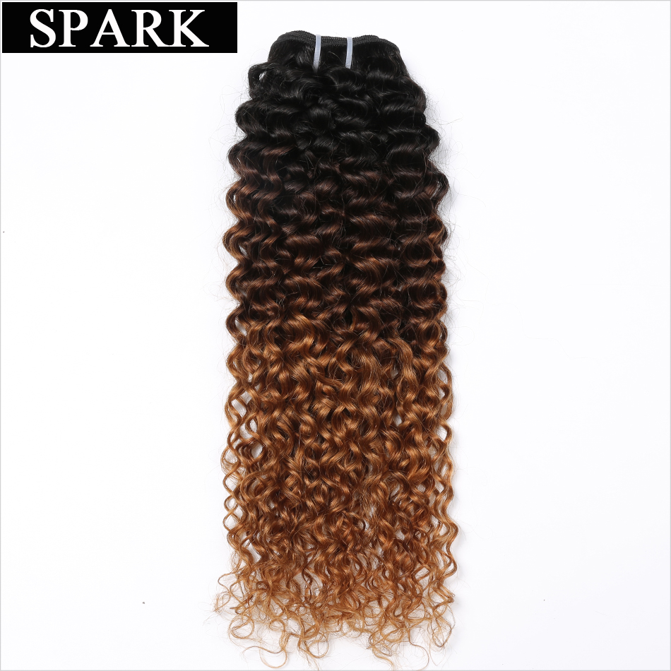 Spark 1/3/4PCS Hair Malaysian Kinky Curly Ombre Hair Bundles Three Tone 1B/4/30 Remy Human Hair Weave 10-26inch Hair Extensions