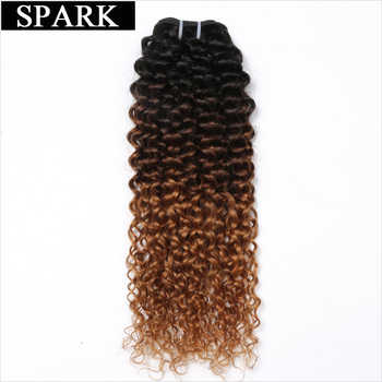 Spark Ombre Human Hair Extension Malaysian Afro Kinky Curly Hair Bundles Three Tone Color Medium Ratio Remy Human Hair For Black - DISCOUNT ITEM  56% OFF All Category