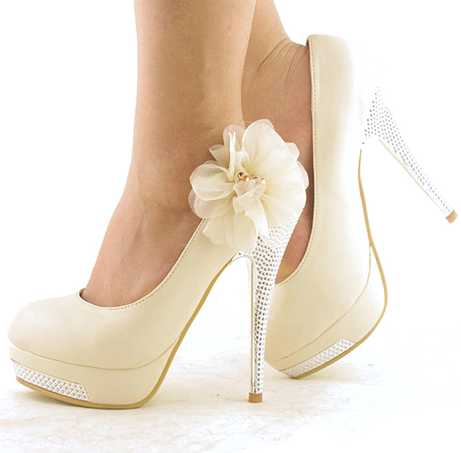Ivory Lace Prom Shoes