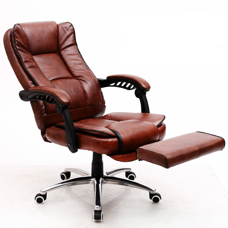 Comfortable Leather Office Chair Reclining Computer Chair Swivel Thickened Cushion cadeira sedie ufficio bureaustoel ergonomisch 240312 stereo thicker cushion household office chair high quality pu leather computer chair steel handrails
