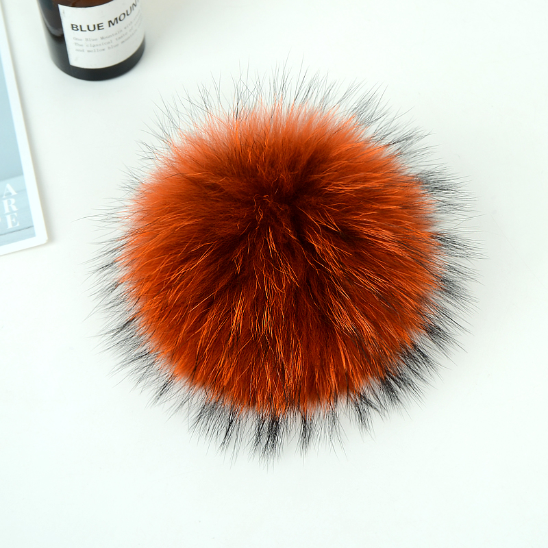 15cm DIY Genuine Real Raccoon Fur Pompom For Women Kids Beanie Hats Caps Big Size Natural Ball For Shoes Caps Bags TWF015-orange