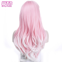 WTB Synthetic Long Wavy Pink   Wigs   for African American Heat Resistance Curly   Cosplay     Wigs   with Free   Wig   Cap