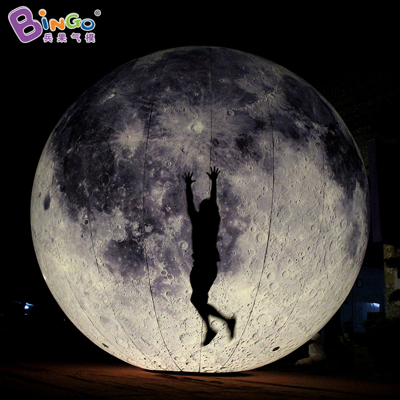 Customized 6M diameters large inflatable moon LEDs digital print blow up ball type moon model for ground display light-up toys 6 5ft diameter inflatable beach ball helium balloon for advertisement