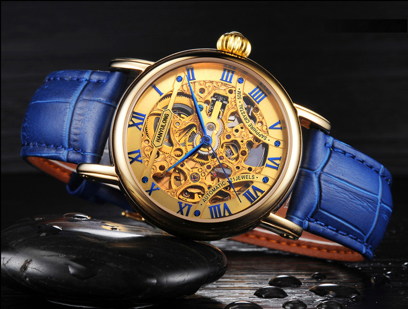 Luxury Fashion Men Gold Skeleton Mechanical Watches Self Wind Real Leather Business Dress Wristwatch Roman Number Reloj NW7402 camino real gold купить грн