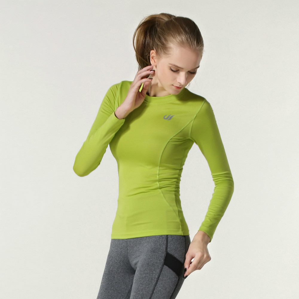 3fe16f18b44b97 Women Running Clothes Long Sleeve Round neck Sports Shirts Yoga Jogging  Sportswear Stretch Gym Fitness Top Racerback Pullover-in Yoga Shirts from  Sports ...