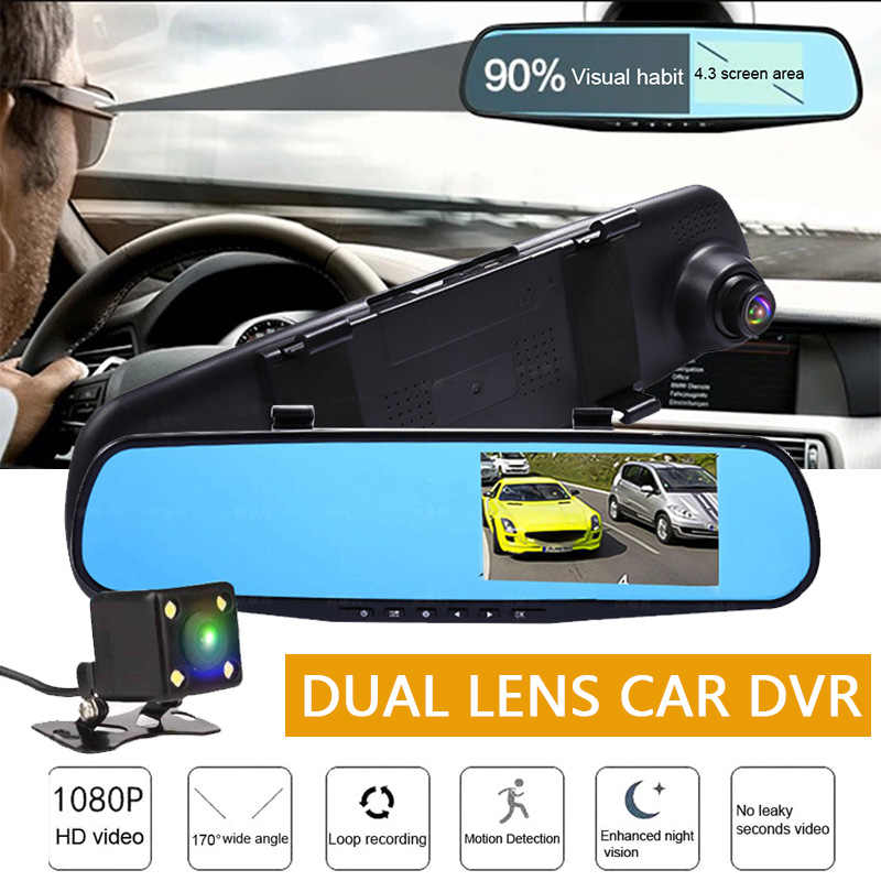 "Car DVR Camera Dash Cam Auto 4.3"" Full HD 1080P Rearview Mirror DVRs Digital Video Recorder Night Vision Dual Lens Registratory"