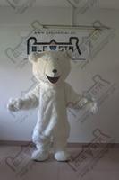 The fluffy white polar bear mascot costumes white bear walking actor