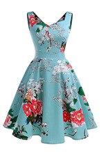 2018 Summer Hepburn Floral Print Dress Back V-Neck A-Line Dress Vintage Sleeveless Party Dresses