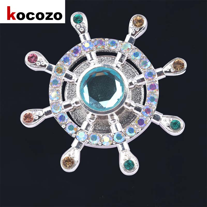 Captain Rudder With Diamond And Rhinestone Fidget Spinner Hand Metal Pirate Fingertip Gyroscope Adult  Girls Toy