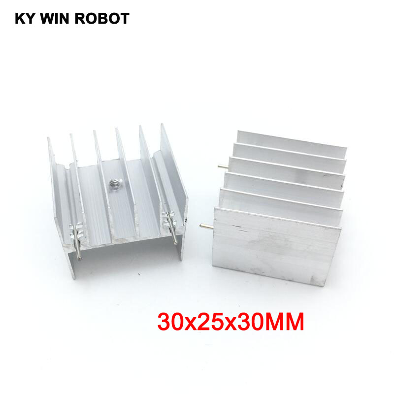 10pcs White Aluminium TO-220 30x25x30mm Heatsink TO 220 Heat Sink Transistor Radiator TO220 Cooler Cooling 30*25*30MM With 2pin