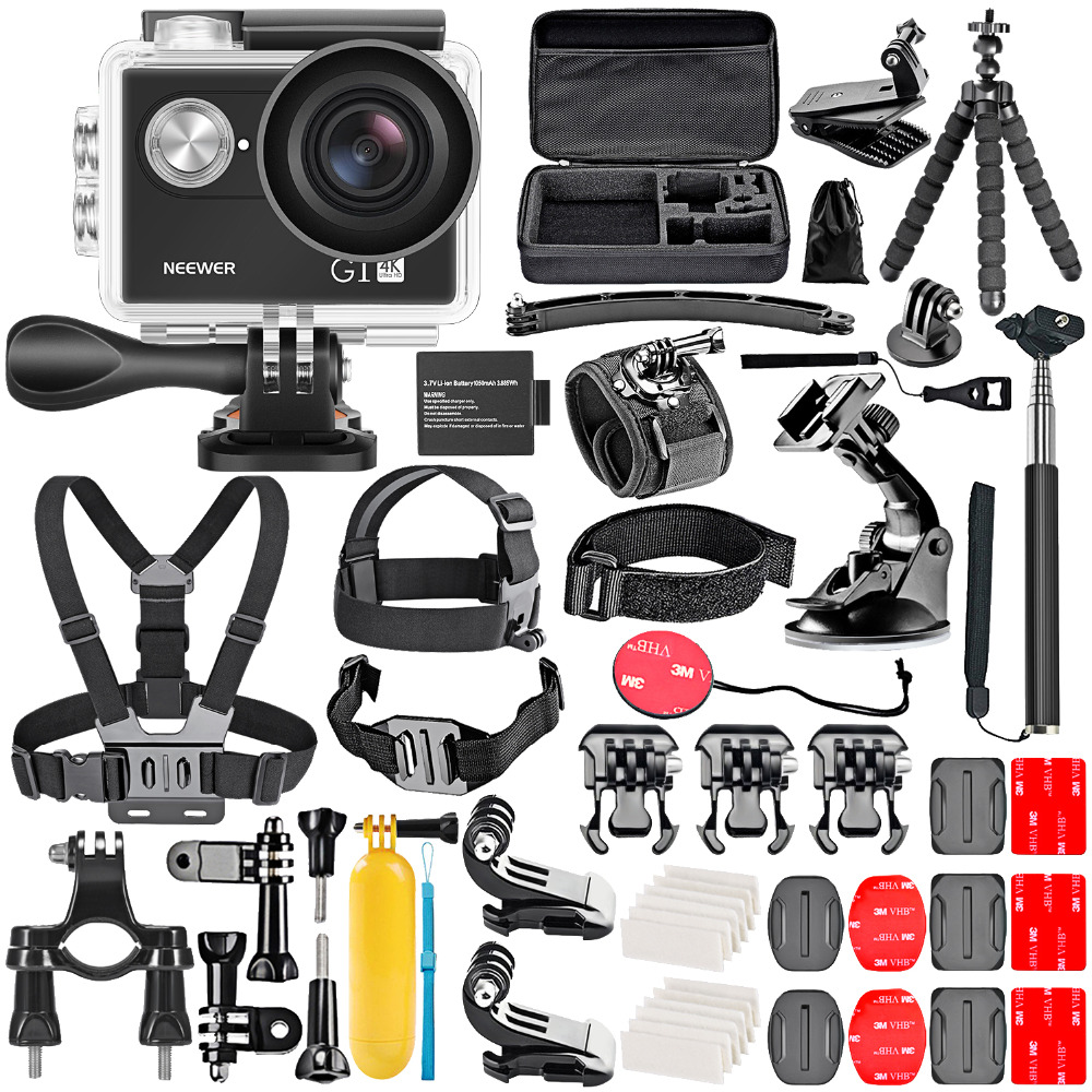 Neewer G1 Ultra HD 4K Action Camera Kit Includes 12MP 98 Ft Underwater Waterproof Camera 170 Degree Wide Angle WiFi Sports