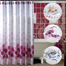 Flower Shower Curtain Bath Curtains Bathroom Cortina Waterproof Polyester Floral Cover With 12pcs Hooks 180 X