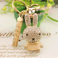 Cute Rabbit Keychain For Women Female Novelty Items Cool Key Ring Souvenir Gift Free Shipping Christmas