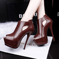 2016 New Spring/Autumn Women's Pumps Short Boots Peep Toe High Heels Shoes Sexy Ankle Boots Thin Heels Shoes Woman Cut-Out Pumps
